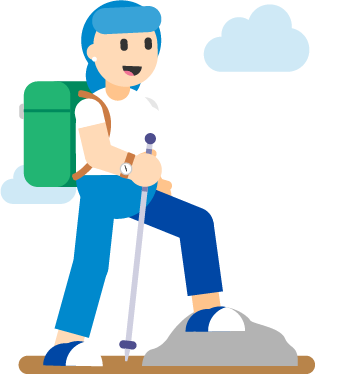 A blue-haired woman dressed in hiking gear and representing mint tulip has one leg up on a rock