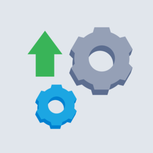 Two gears beside a large green arrow symbolising growth