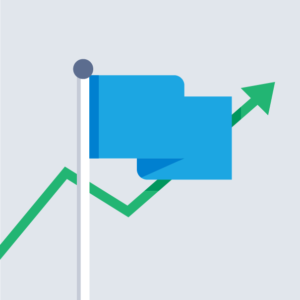 A blue flag with a green plotted arrow rising behind it