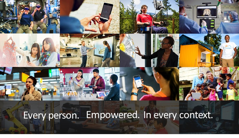 """Multiple images of people interacting with technology with the text """"Every Person. Empowered. In every context"""""""