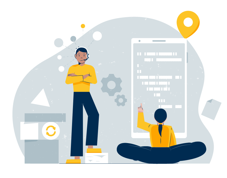 illustration of two colleagues working on multiple devices
